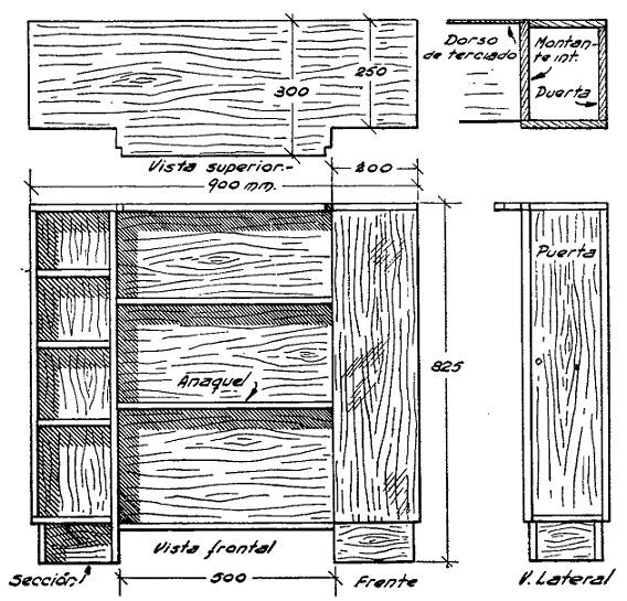 Cmo hacer una mesa de luz for Planos de muebles de madera pdf