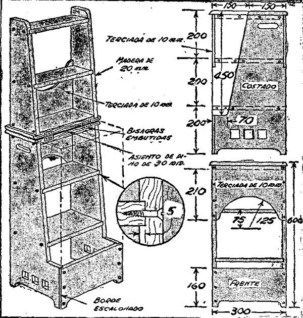 Como hacer una escalera taburete de madera como hacer for Como hacer una escalera de madera economica