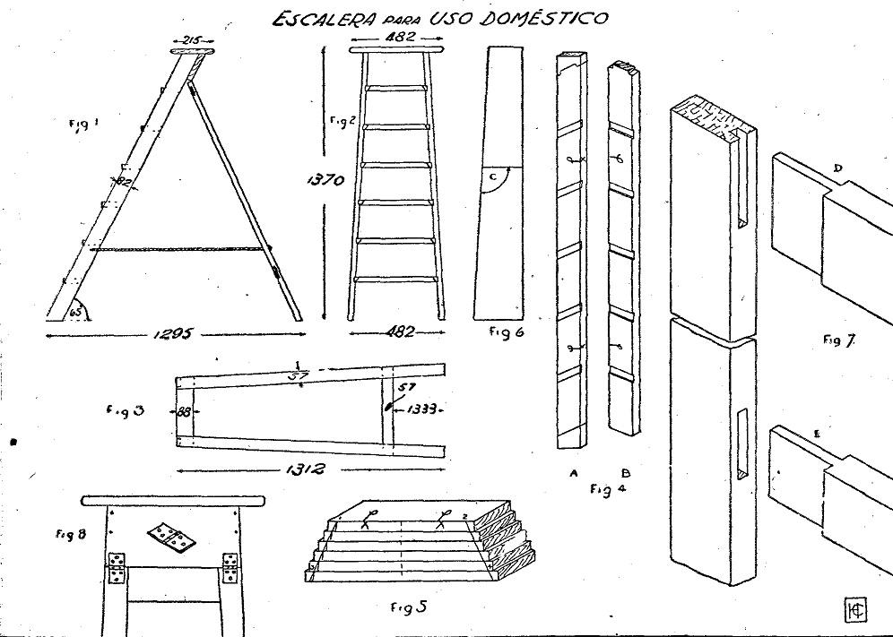 Escaleras de pintor de madera como hacer una escalera for Silla escalera plegable planos