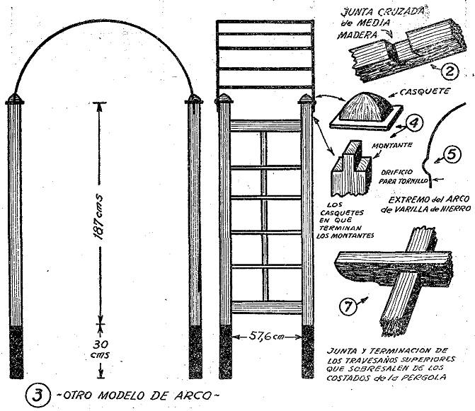 Porticos y enrejados como hacer enrejados y porticos en - Arcos de madera para jardin ...