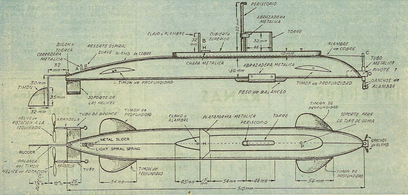 Plano del submarino como hacer instrucciones y planos Proyectos en madera gratis