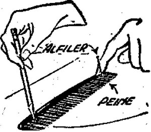 peine usado como compas
